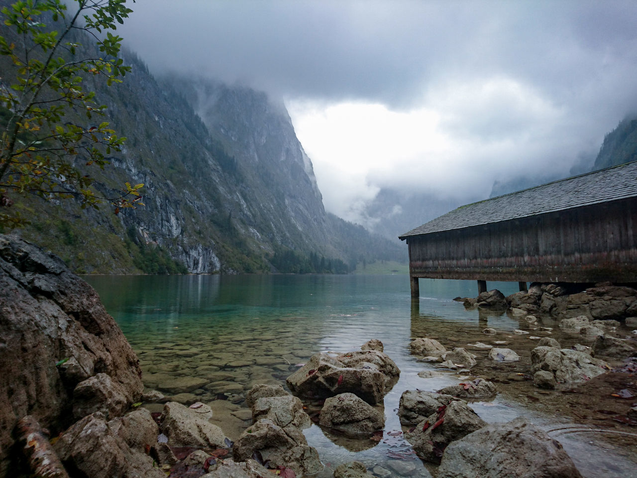 Water Lake Reflection Architecture Cloud - Sky No People Tree Outdoors Sky Nature Famous Tourist Attractions Beauty In Nature Cold Days Foggy Morning Mountain Obersee Germany Hut Travel Destinations Clearwater Cloudscape