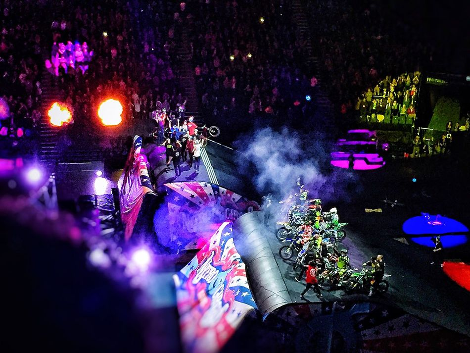 Circuslife Megaramp Travispastrana Tricks Illuminated Celebration Night Smoke - Physical Structure Outdoors Flower Event Pink Color Multi Colored Nitro Circus Nitrocircus Nitrocircuslive Bmx  Bmxlife FMX Skateboarding Skate Bike Action Actionsports