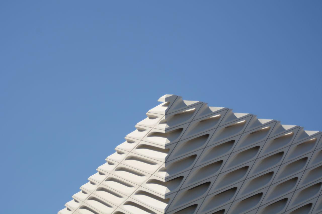 Angle Architecture Building Building And Sky Building Exterior Built Structure Clear Sky Copy Space Day Facade Building Facade Detail Los Angeles, California Low Angle View Museum Nature No People Outdoors Shadow Sky USA Photos Minimalist Architecture