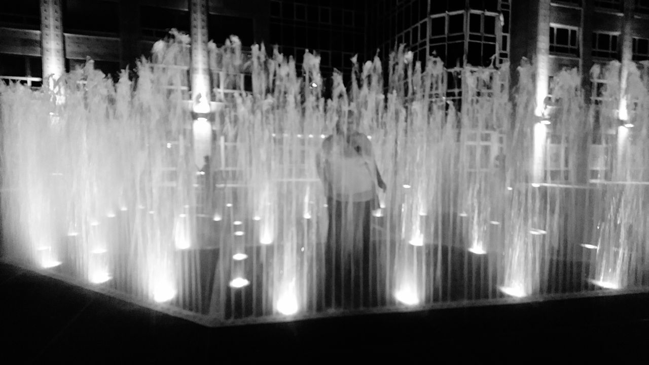 Outdoors Waterfall Night Motion Blurred Motion Long Exposure No People water fountain Water Water Fountain Water Drop Fountain Fun Black And White Black & White Eyeem Black And White Photography EyeEm Best Shots - Black + White Nightphotography Black&white Eyeem Black And White Black And White Photography day