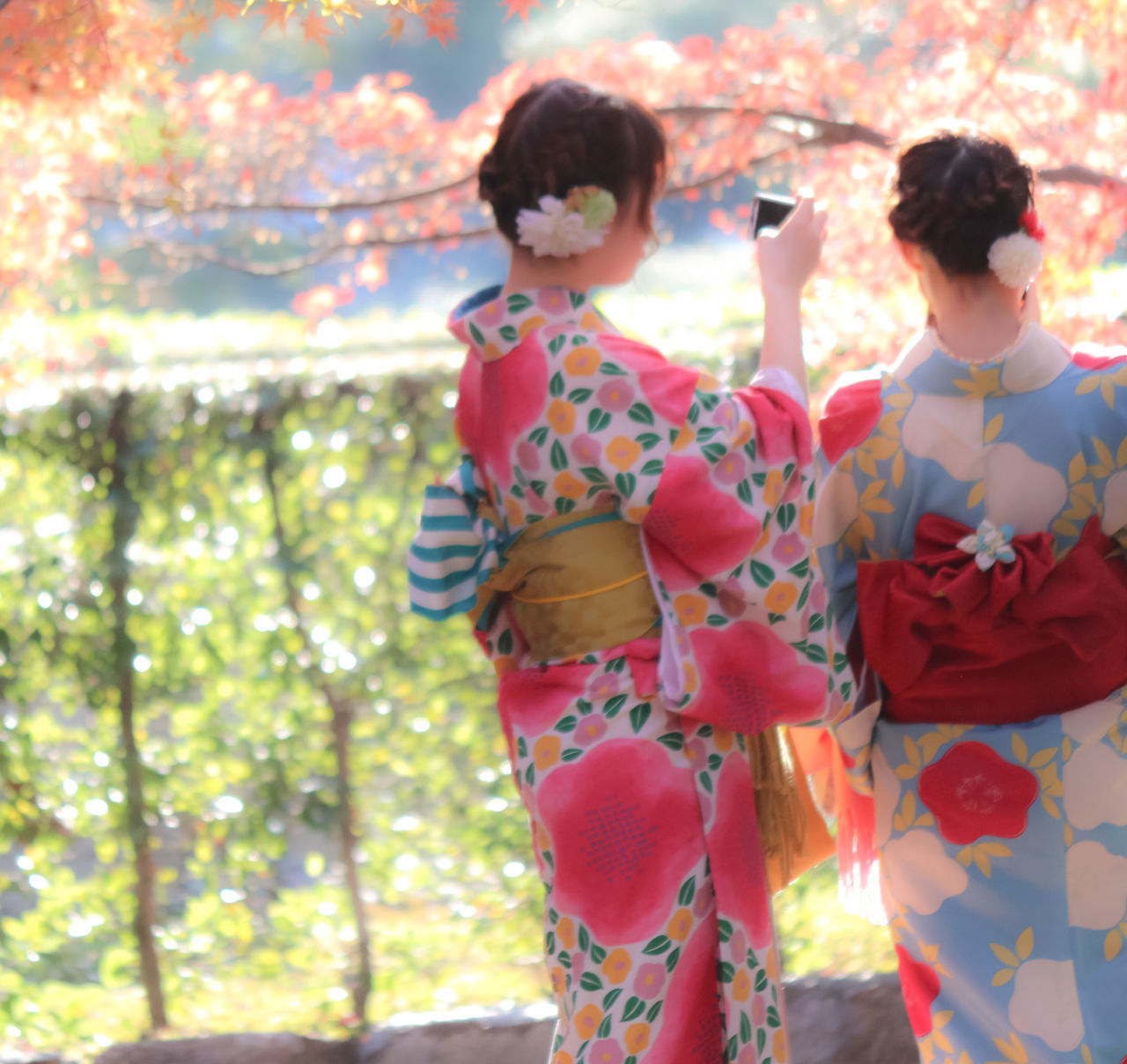 rear view, real people, kimono, two people, leisure activity, togetherness, traditional clothing, lifestyles, day, women, standing, outdoors, celebration, bonding, red, love, sunlight, holding, childhood, men, tree, friendship, flower, adult, people