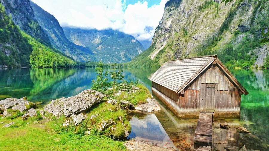 Architecture House Water Mountain Lake Reflection Beauty In Nature Outdoors Mountain Range No People Landscape Nature Hut Wanderlust Photography Outdoor Mountains Obersee - Königssee - Berchdesgaden Germany