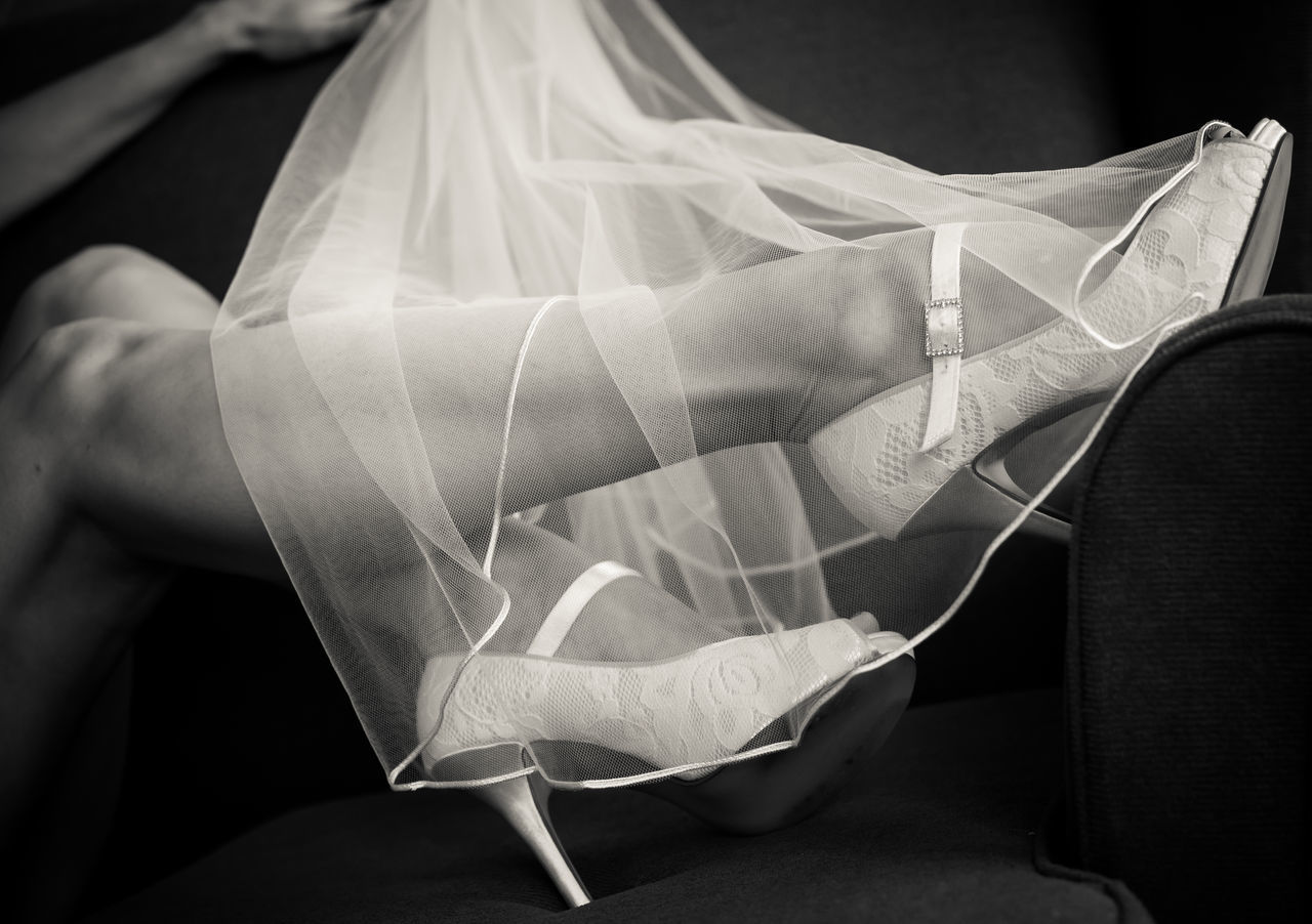 Bride Bride's Shoes. Females High Heels Legs Lingerie Netting One Woman Only Sexy Legs Shoes Veil Veiled Wedding Wedding Day Wedding Dress Wedding Photography Women