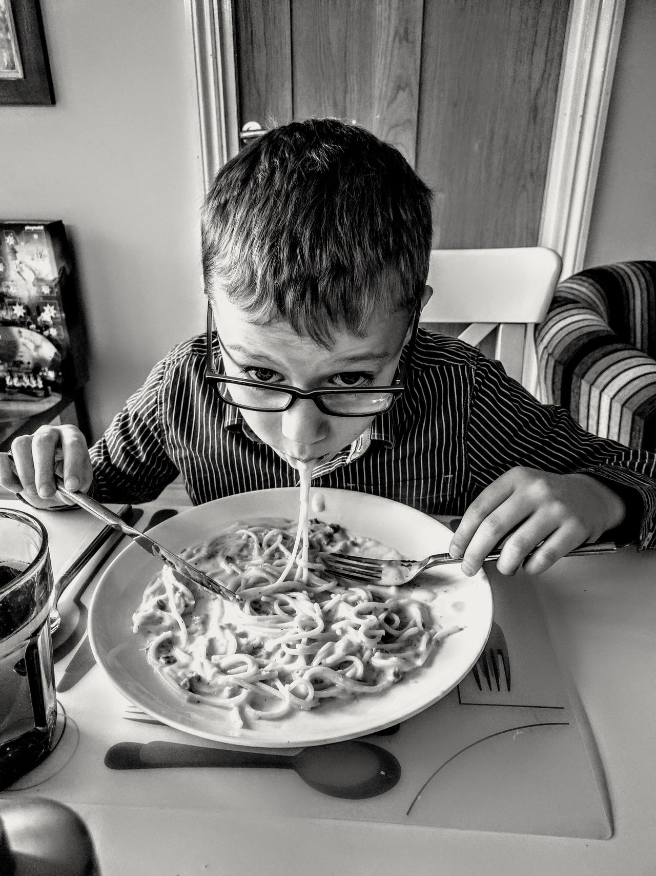 Love Spaghetti! Boy meal food dishes specs Child One Boy Only Table Food Healthy Eating Childhood People Children Only Squiggles Squiggle Real People One Person