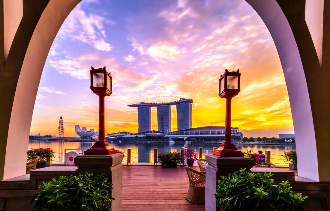 MBS in the frame Architecture Building Exterior City Cityscape Huntergol Marina Bay Sands No People Outdoors Sky Sunrise Sunset Tourism Travel Travel Destinations Vacations