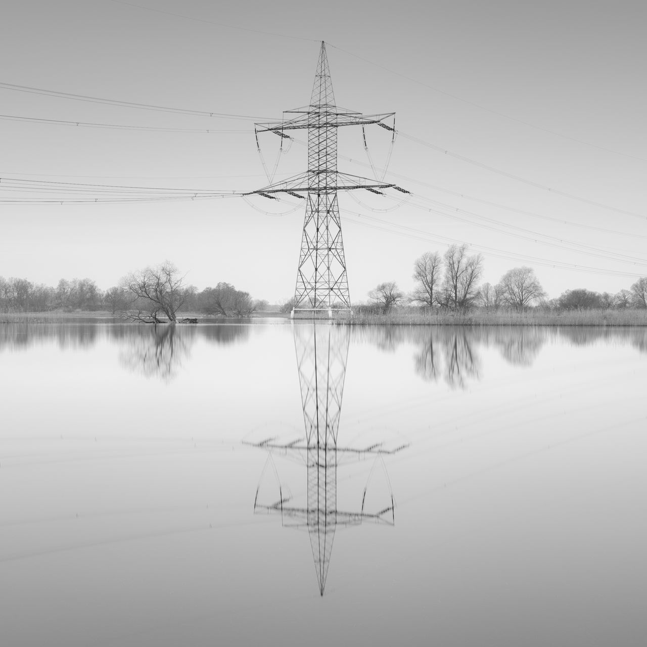 electricity pylon reflection in water Beauty In Nature Black And White Brandenburg Cable Connection Day Electricity  Electricity Pylon Fine Art Fuel And Power Generation Havelland Monochrome Nature No People Outdoors Philipp Dase Power Line  Power Lines Power Supply Reflection Sky Standing Water Symmetry Tree Water