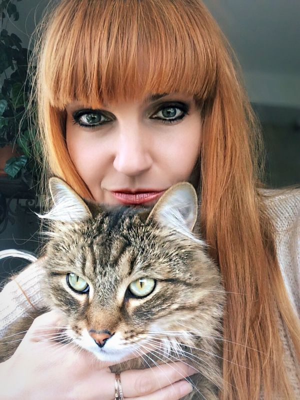 Me and my kitten Woman Girl Red Hair Cat Siberian Portrait With Cat Girl With Cat Cat Lovers Love