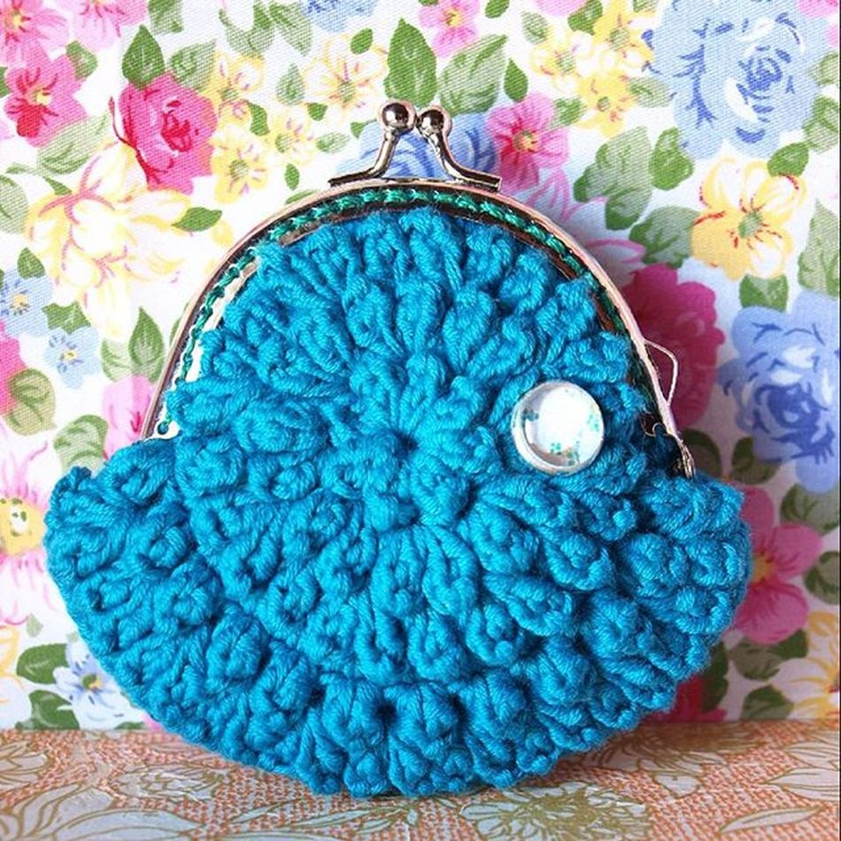 Monedero Coinpurse Vintage Blue Crochet Ganchillo