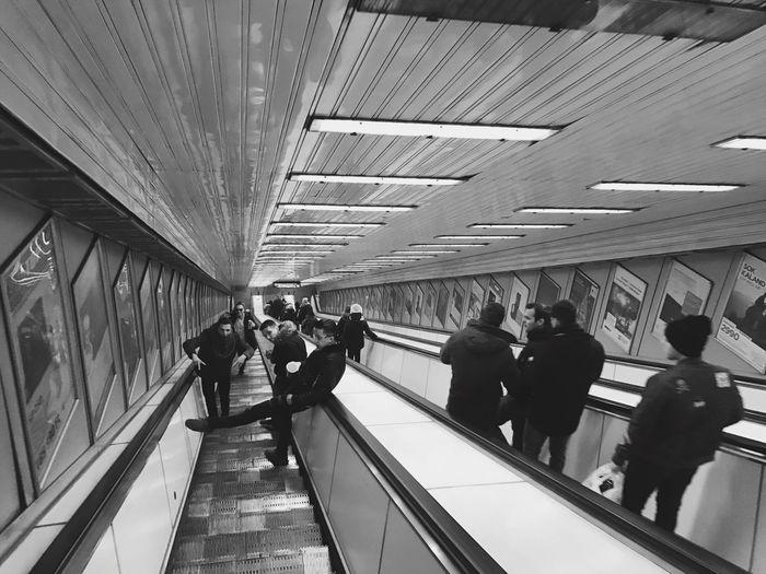 Metro Station Hungary Budapest Urban Downstairs Blackandwhite