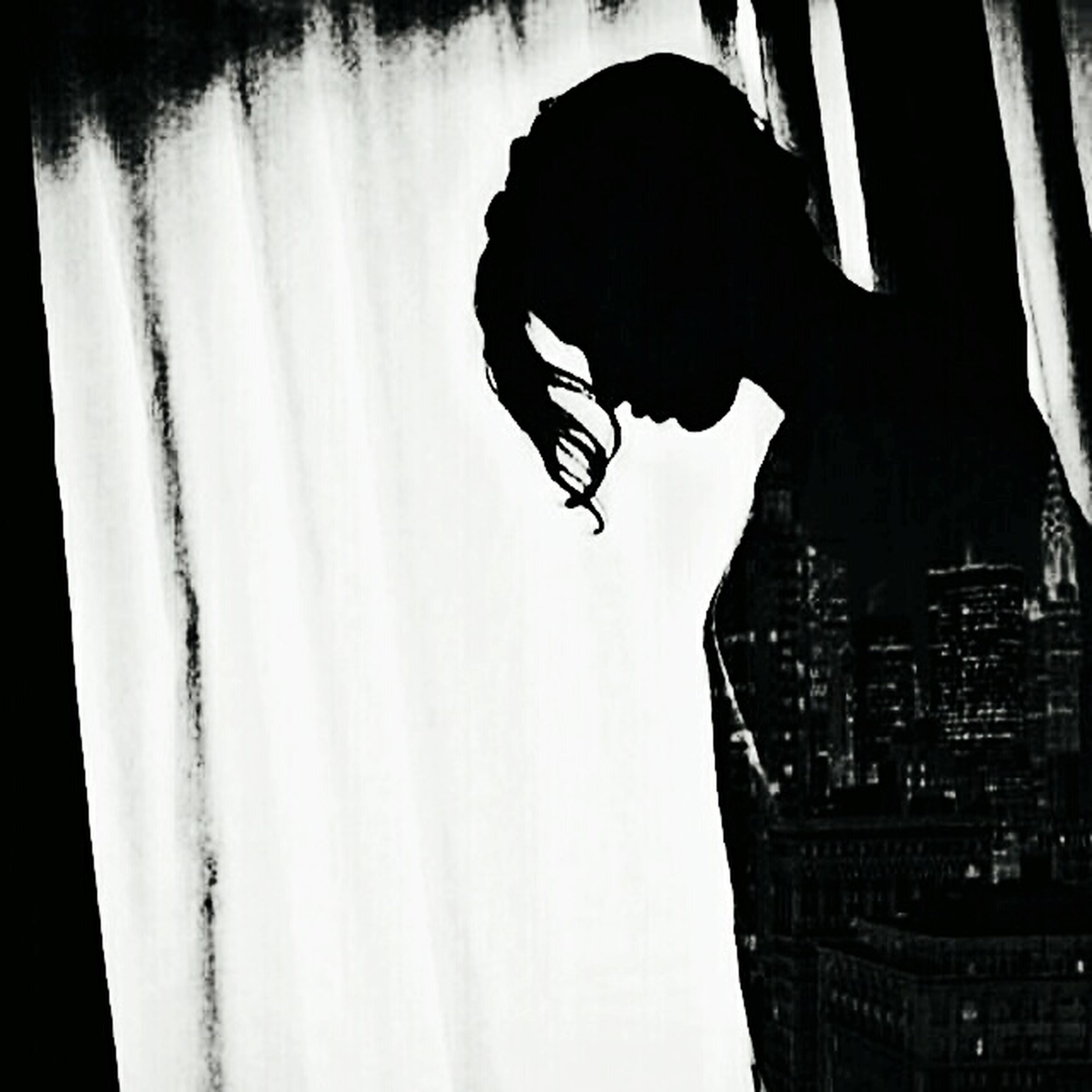 curtain, side view, silhouette, indoors, person, holding, domestic life, profile