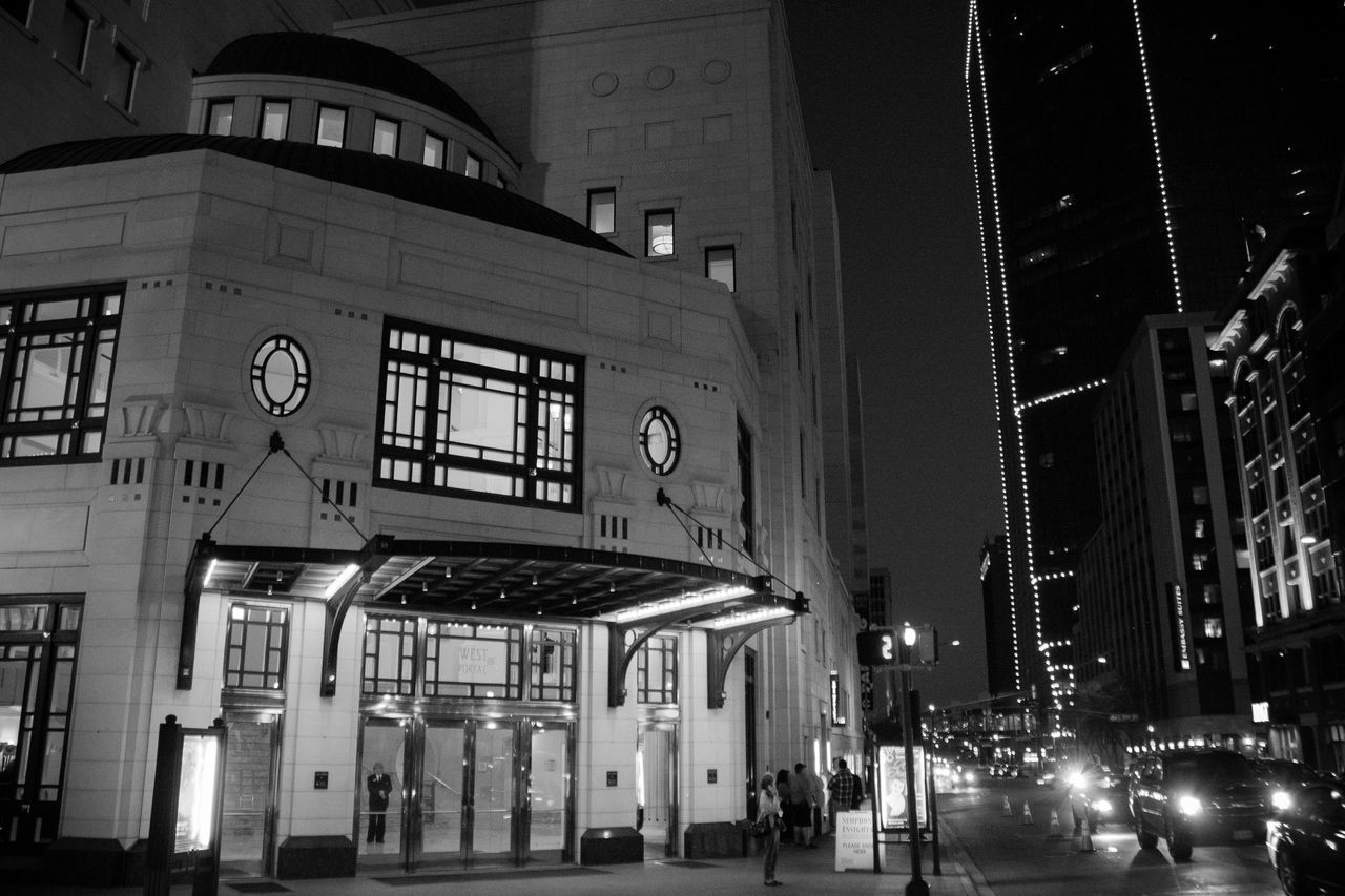 Architecture Bass Hall Black&white Blackandwhite City Fort Worth Illuminated Night Outdoors Street Texas Travel Destinations