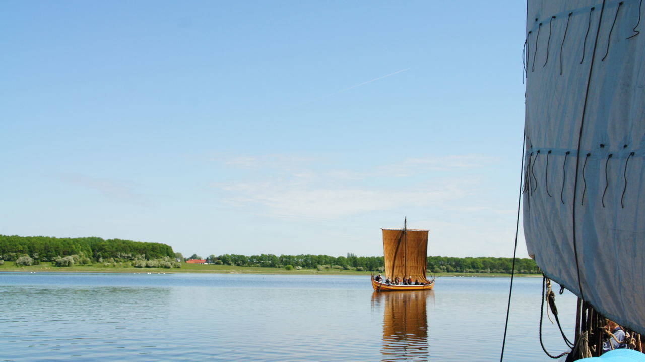 """The viking replica ship """"Sea stallion Blue Clear Sky Day Denmark Fjord Historic Nature Reflection Replca, Rippled Roskilde Fjord Sailship Scenics Tranquil Scene Tree Viking Ship Water Waterfront Wood"""