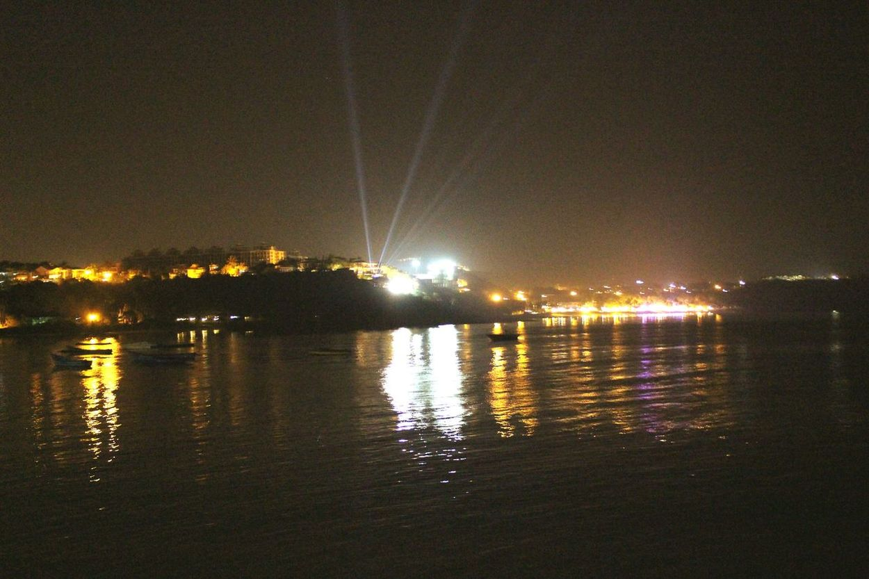 DONA PAULA♥ sky Night Reflection Sea No People Light In The Darkness Outdoors Nautical Vessel Beauty In Nature Nature Scenics Illuminated Tranquility Astronomy Goa Lighting Shingham Movie Place First Eyeem Photo