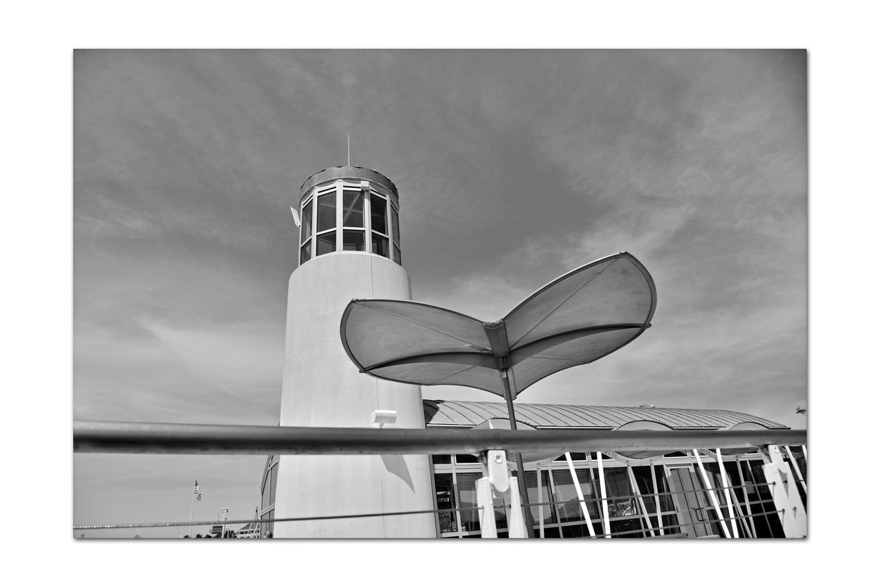 Observation Deck At Jack London Square 4 Embarcadero Cove Port Of Oakland, Ca. Art Is Everywhere Architecture Nautical Theme Architectural Feature Wave-rendered Awning Lookout Lighthouse Tower Ocean-tinted Glass Jack London Square Marina Nautical Fuel Depot Restaurant, Retail & Entertainment District Waterfront Opposite Shore Alameda Marina Monochrome Photograhy Monochrome Black & White Black & White Photography Black And White Collection  Black And White Deck Seating Whales Tail Umbrellas