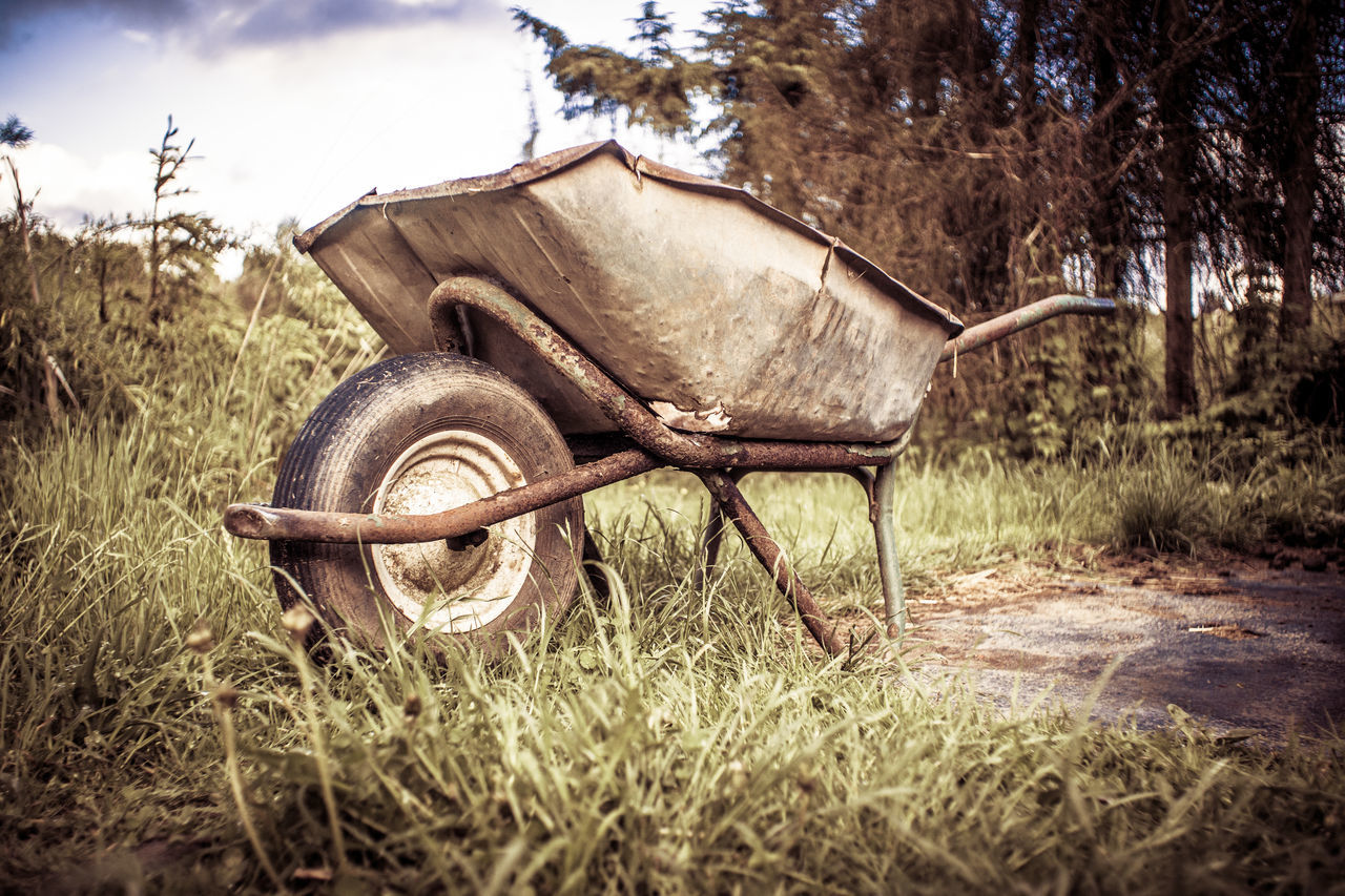 Abandoned Close-up Day Farm Life Field Grass Nature No People Old-fashioned Outdoors Sky Tree Wagon Wheel Wheel Wheelbarrow
