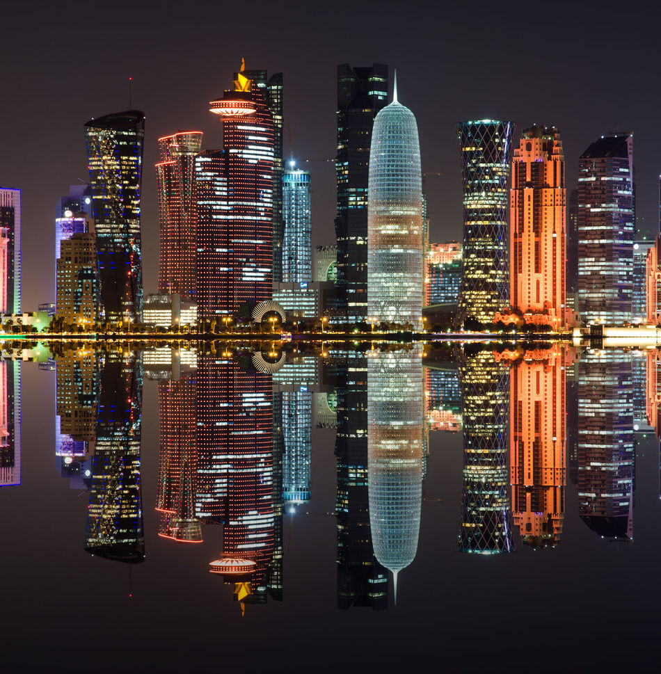 Beautiful stock photos of skyscrapers, Doha, Multi Colored, Qatar, apartment