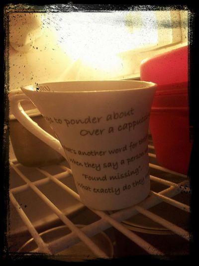 Coffee mug in fridge