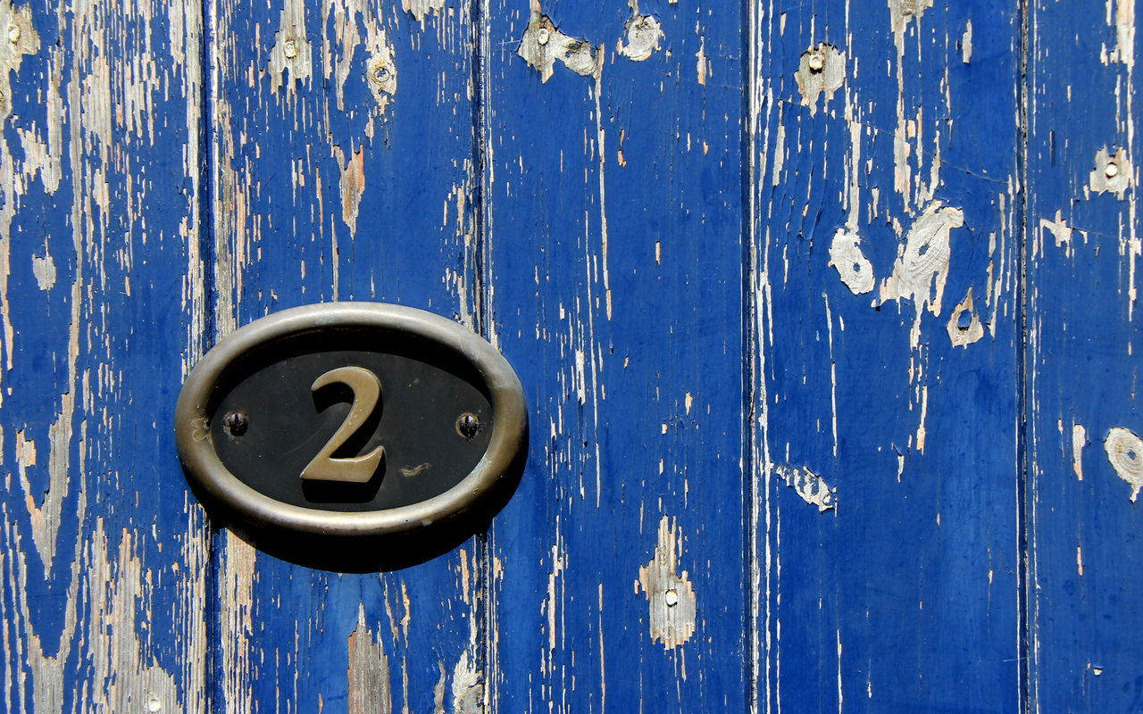 Blue Close-up Communication Day Door Door Number Flaked Paint Metal No People Outdoors Textured  Wood - Material