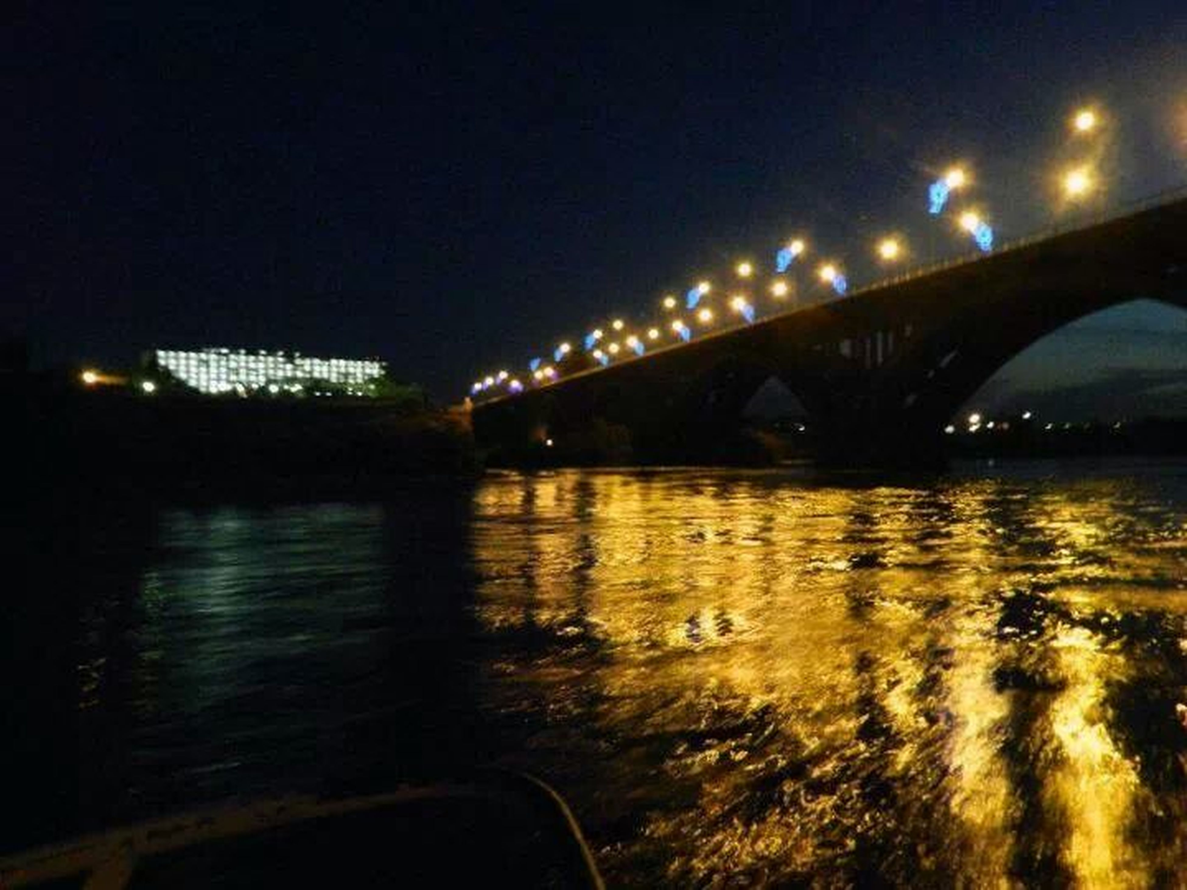 bridge - man made structure, connection, water, transportation, built structure, illuminated, bridge, architecture, river, engineering, night, reflection, arch bridge, arch, waterfront, sky, street light, clear sky, suspension bridge, outdoors