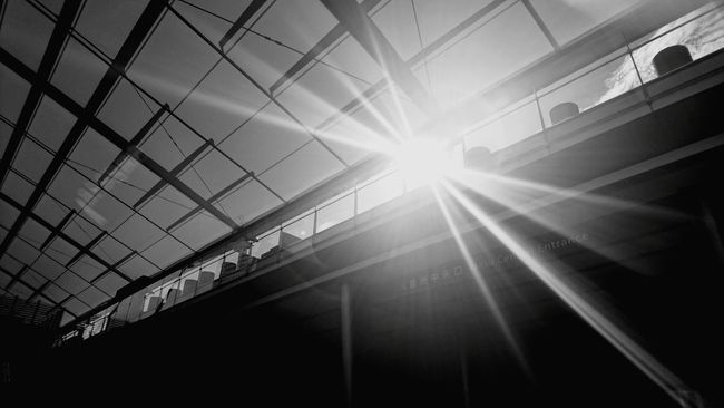 Tokyo Station Tokyostation Sun Sunlight Low Angle View Sunbeam Architecture Window Built Structure Lens Flare Sunny Day Bright Sky Skyscraper Office Building No People Architectural Feature Modern Light And Shadow Blackandwhite Photography Cityscapes Black And White Blackandwhite Tokyo Days City Life