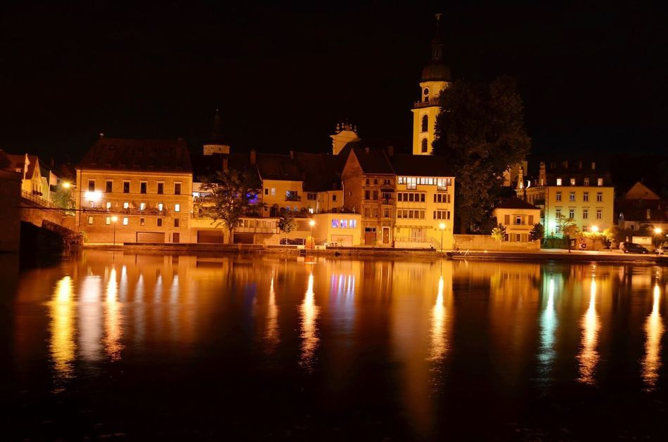 Night Reflection Illuminated Water Outdoors Bavaria Franconia Main Waterfront Riverside River Riverscape
