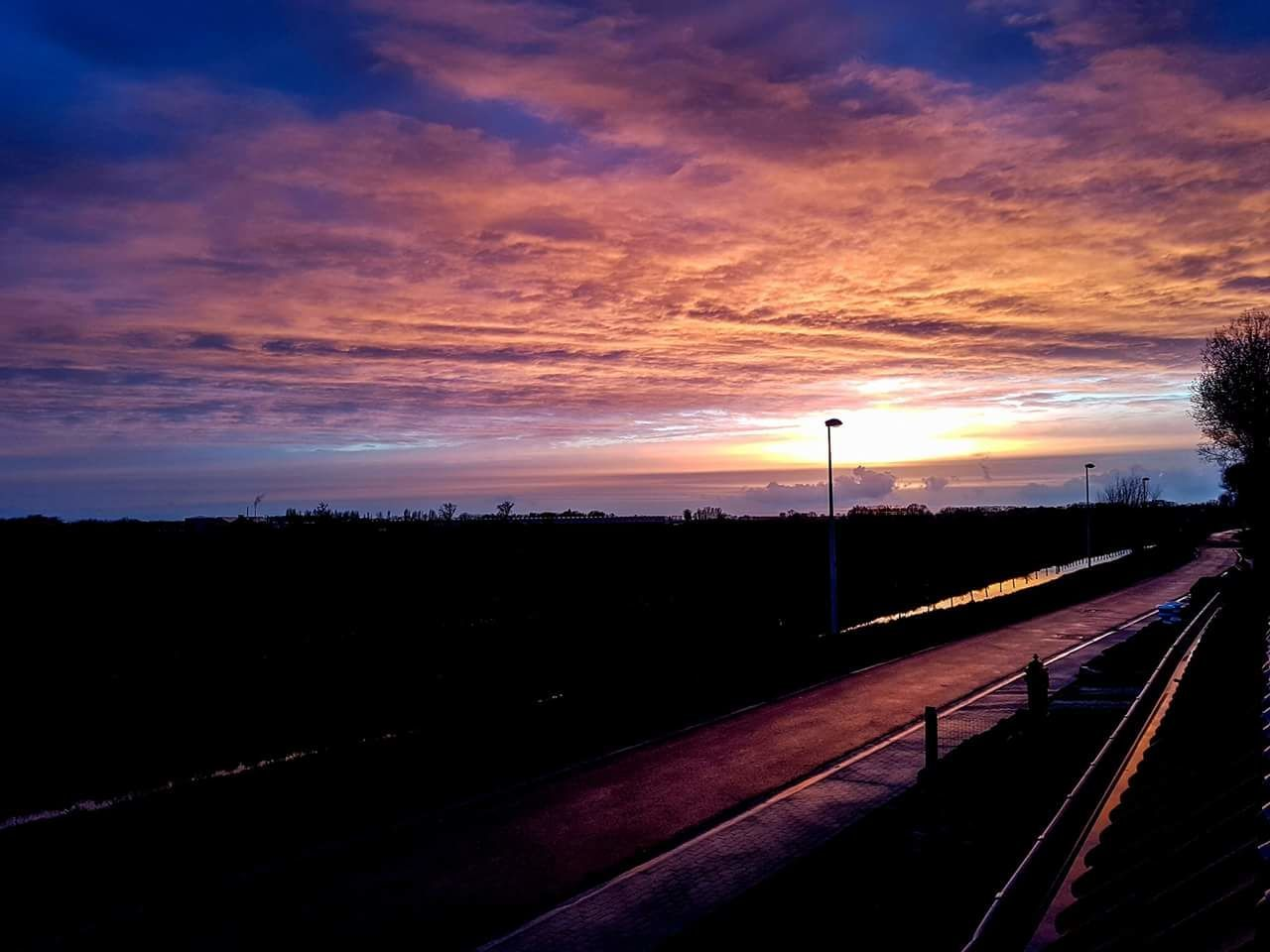Sunset Road The Way Forward Beauty In Nature Romantic Sky Night Outdoors No People Nature EyeEm Gallery EyeEm Best Shots First Eyeem Photo Multi Colored Flandres  Belgium, Belgium!  EyeEmNewHere