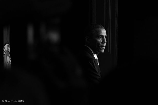 POTUS Black & White Fuji Xpro1 Fujifilm Reportage I took this during President Obama's speech supporting Senator Patty Murray's campaign