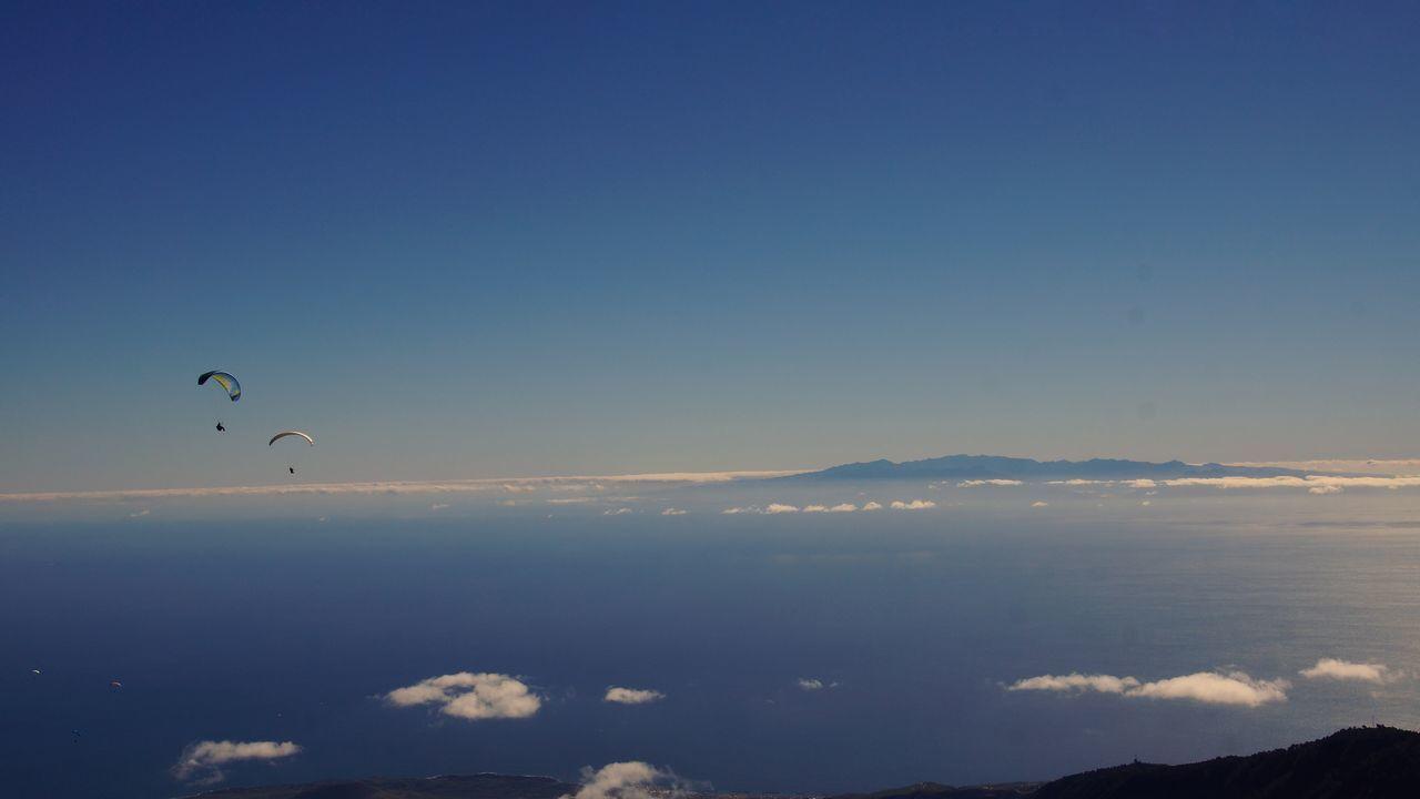 Flying. Sky Canary Islands Paragliding Atlantic Ocean Fly