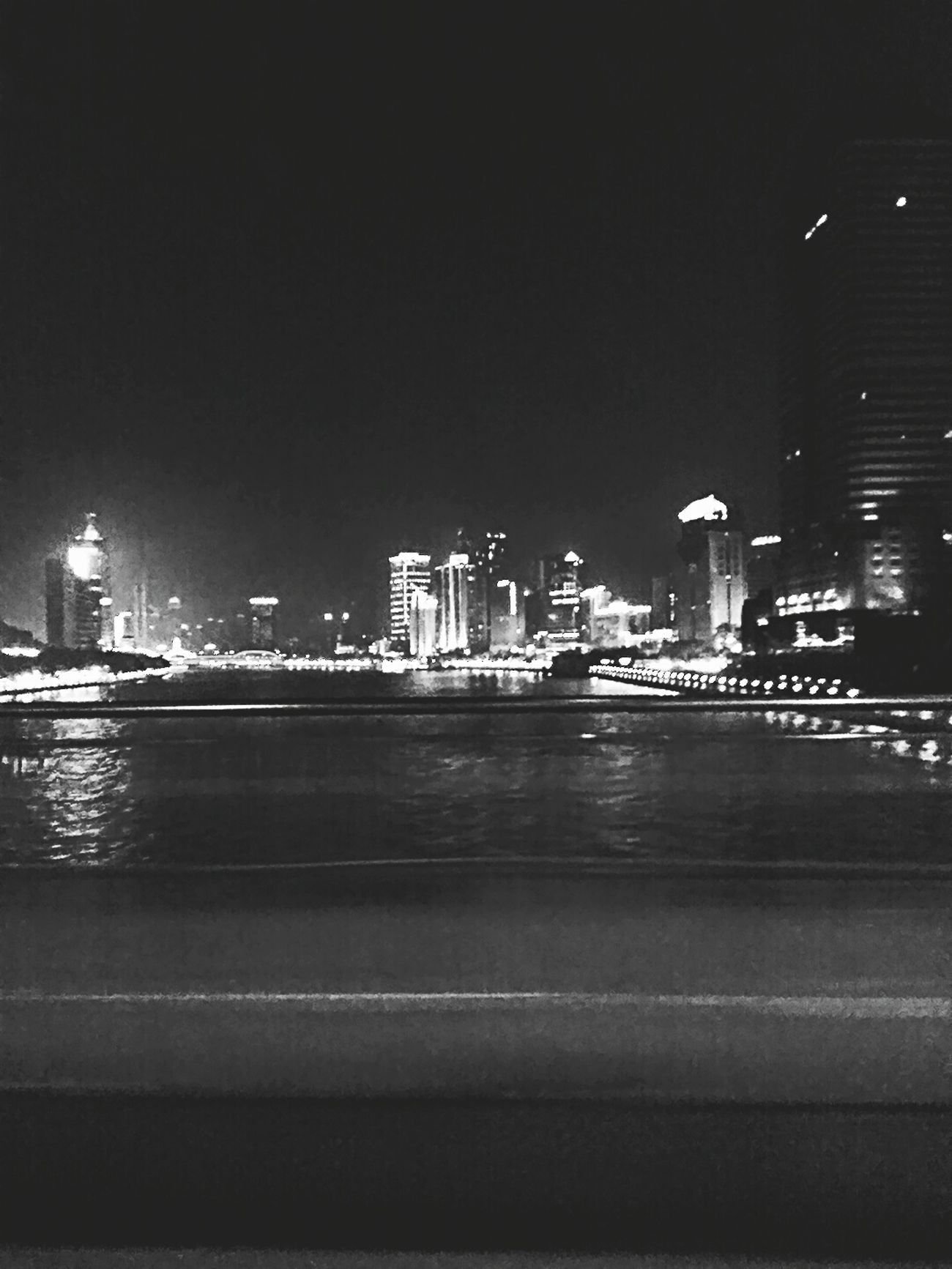 Night City Building Exterior Outdoors Cityscape Black & White City View  City At Night Illuminated Reflection Architecture Travel Destinations Urban Skyline Sky Built Structure No People Water Bridge - Man Made Structure Downtown District Skyscraper River