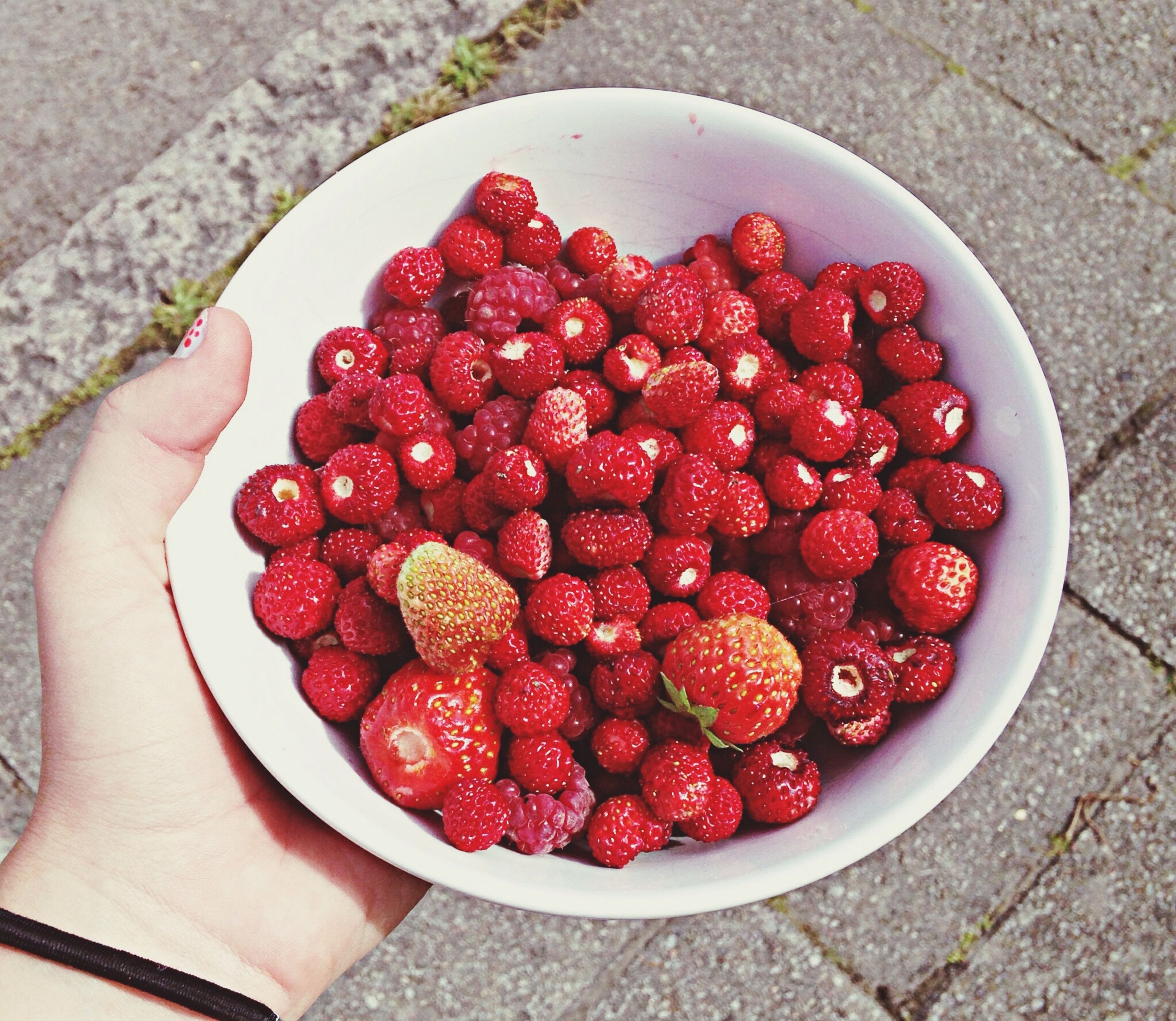 food and drink, red, food, fruit, freshness, healthy eating, strawberry, person, high angle view, part of, holding, personal perspective, cropped, raspberry, unrecognizable person, directly above, indoors