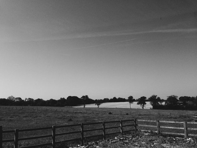 Monochrome fields forever… Tranquil Scene Tranquility Landscape Fence Sky Non-urban Scene Nature Day Outdoors Countryside Rural Scene No People Monochrome