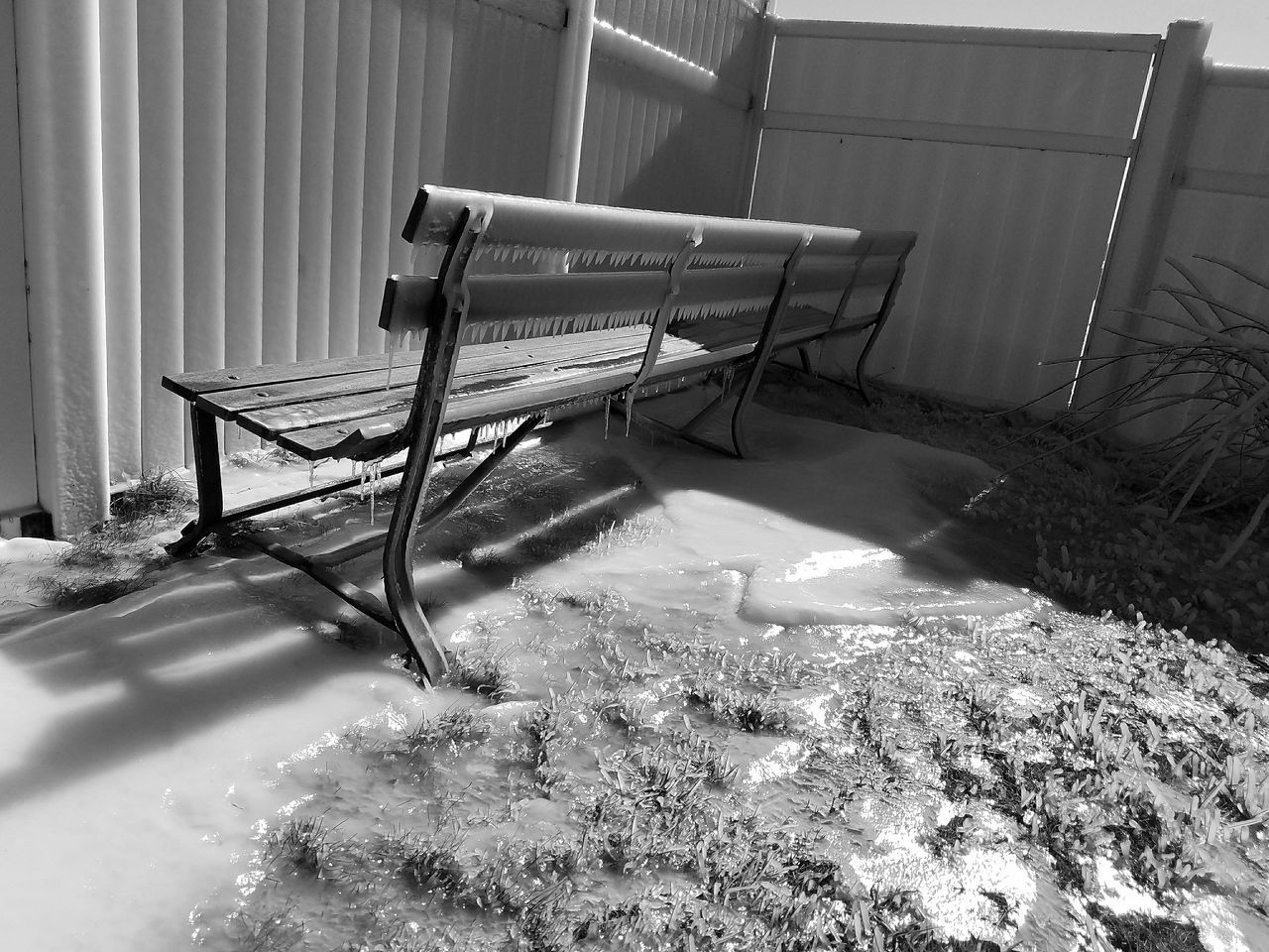 Fortheloveofblackandwhite Bench Lakeshore Ice Shadow Play Light Up Your Life Scenics Black And White Photography Shades Of Grey From My Perspective Mobile Photography Outdoors Day Sunlight Shadow No People Icicles Cold Temperature Black And White Black & White Bnw Black&white