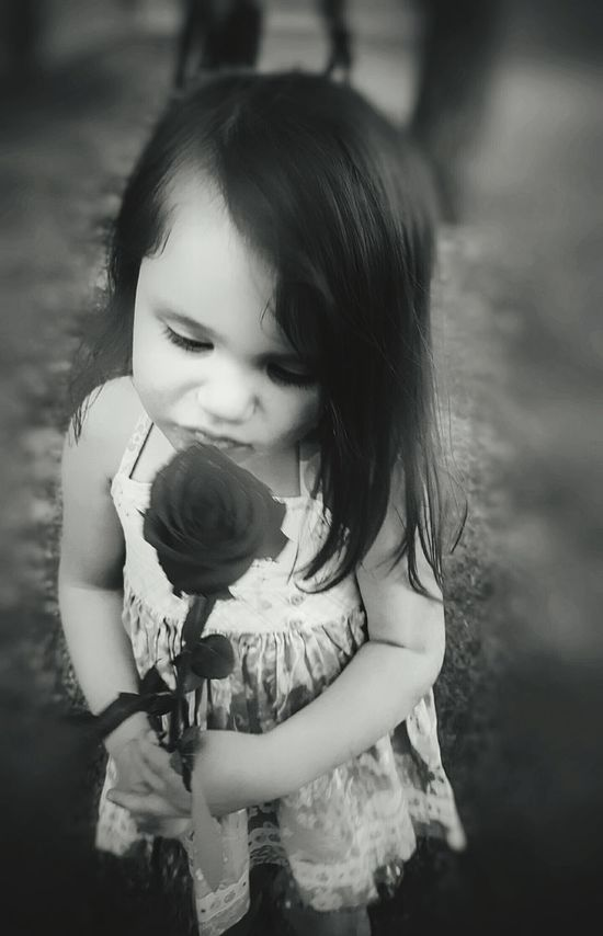Smell The Roses Child Showing Imperfection Grayscale