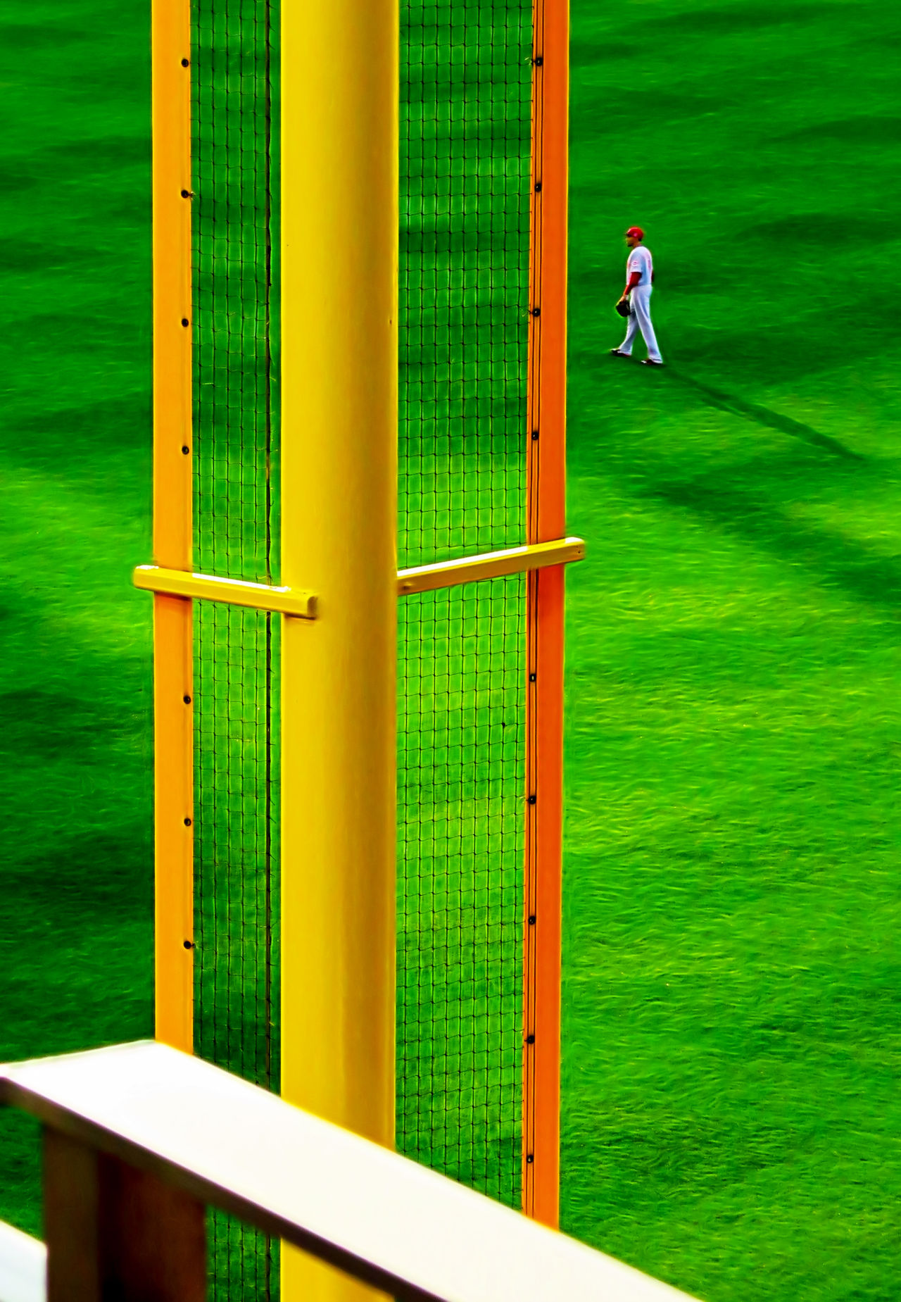 In the outfield Baseball - Sport Corner Day Full Length Grass Green Color Leisure Activity Men Nature One Person Outdoors Outfielder People Real People Right Field Standing Structure