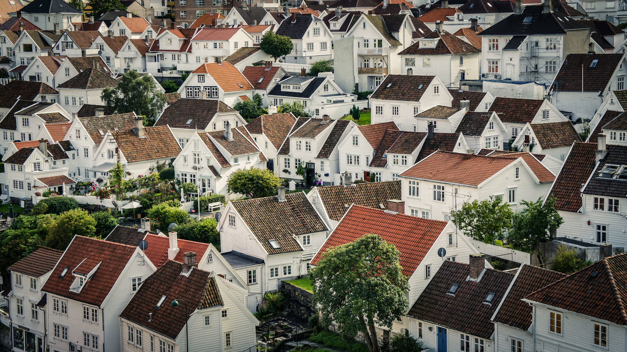 Aerial view of historic city part Gamle Stavanger Aerial View Cozy Gamle Stavanger Historic Historical Building House Norway Pattern Residential District Rooftop White Color