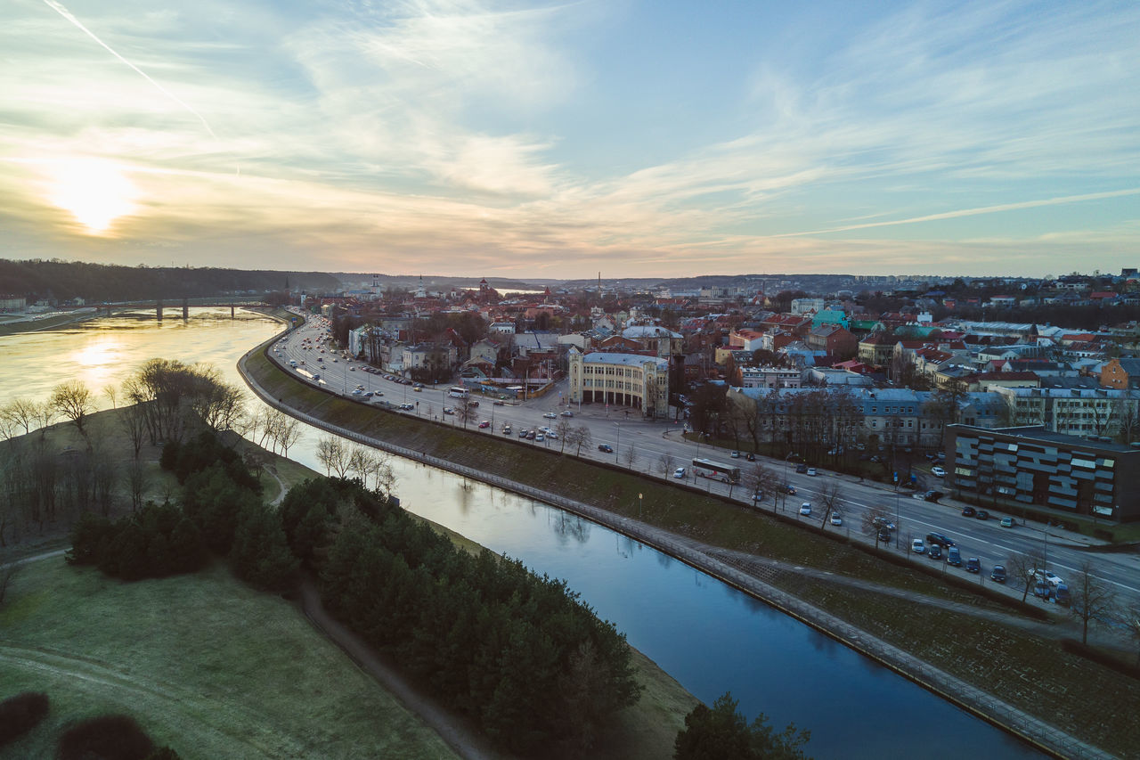 Spring Sunset Aerial View Architecture Bridge - Man Made Structure Building Exterior Built Structure Business Finance And Industry City Cityscape Cloud - Sky DJI Mavic Pro Drones High Angle View Lietuva Mavic Mavic Pro No People Outdoors River Sky Spring Travel Destinations Urban Skyline Water