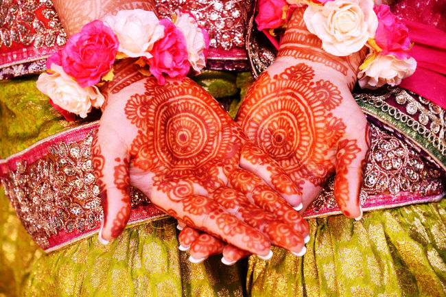 Beauty In Nature Bouquet Celebration Close-up Creativity Culture Decoration Flower Flower Arrangement Henna Henna Tattoo High Angle View Indian Wedding Mandala Mehndi Person Pink Pink Color Pink Rose Rose - Flower Tradition Wedding Wedding Photography