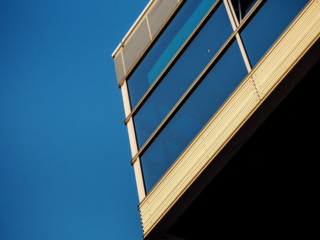 Showcase July Minimalism Shapes And Forms Urban Geometry Geometry Block Architecture Architectural Detail Blue Sky Blue From My Point Of View Olympus Olympus倶楽部 OlympusPEN Olympus Pen Shootermag Lines And Shapes Lines Lookingup Rostock Germany High Contrast Point Of View Harbour Sunlight