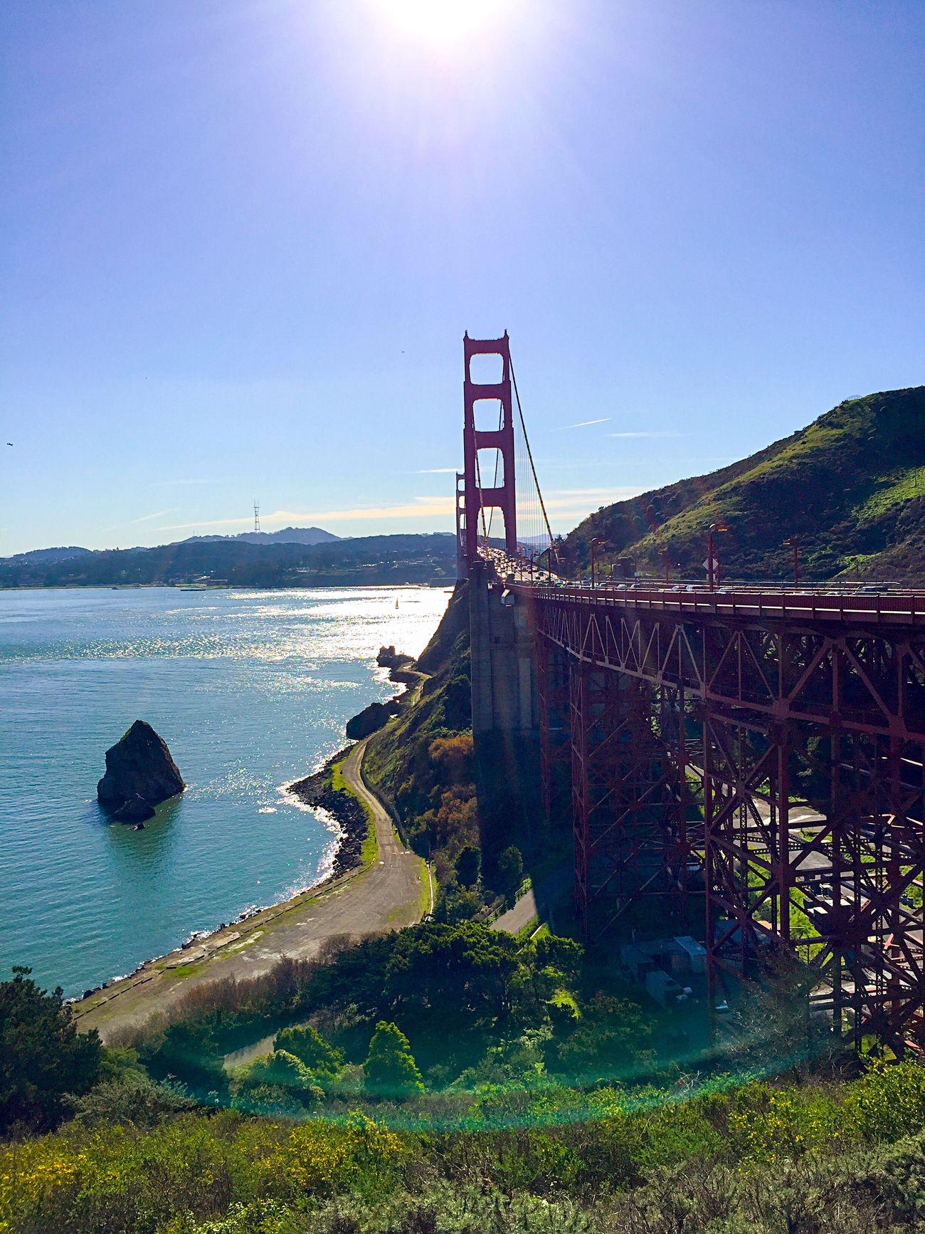 San Francisco Golden Gate Bridge Architecture Water Clear Sky