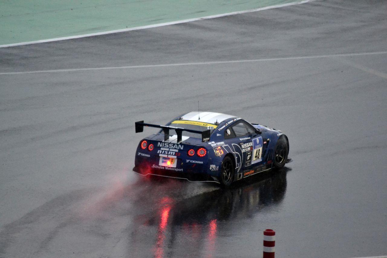 Car Granturismo Lights Motorsport Nissan GTR Nurburgring Rainy Water Reflections