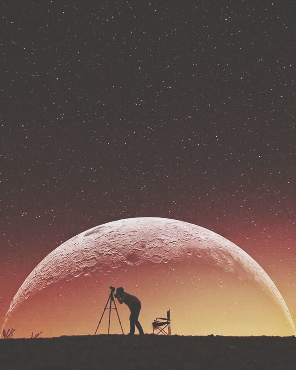 astronomy, real people, star - space, night, beauty in nature, nature, silhouette, men, leisure activity, outdoors, sky, technology, one person, scenics, astronomy telescope, space, galaxy, people