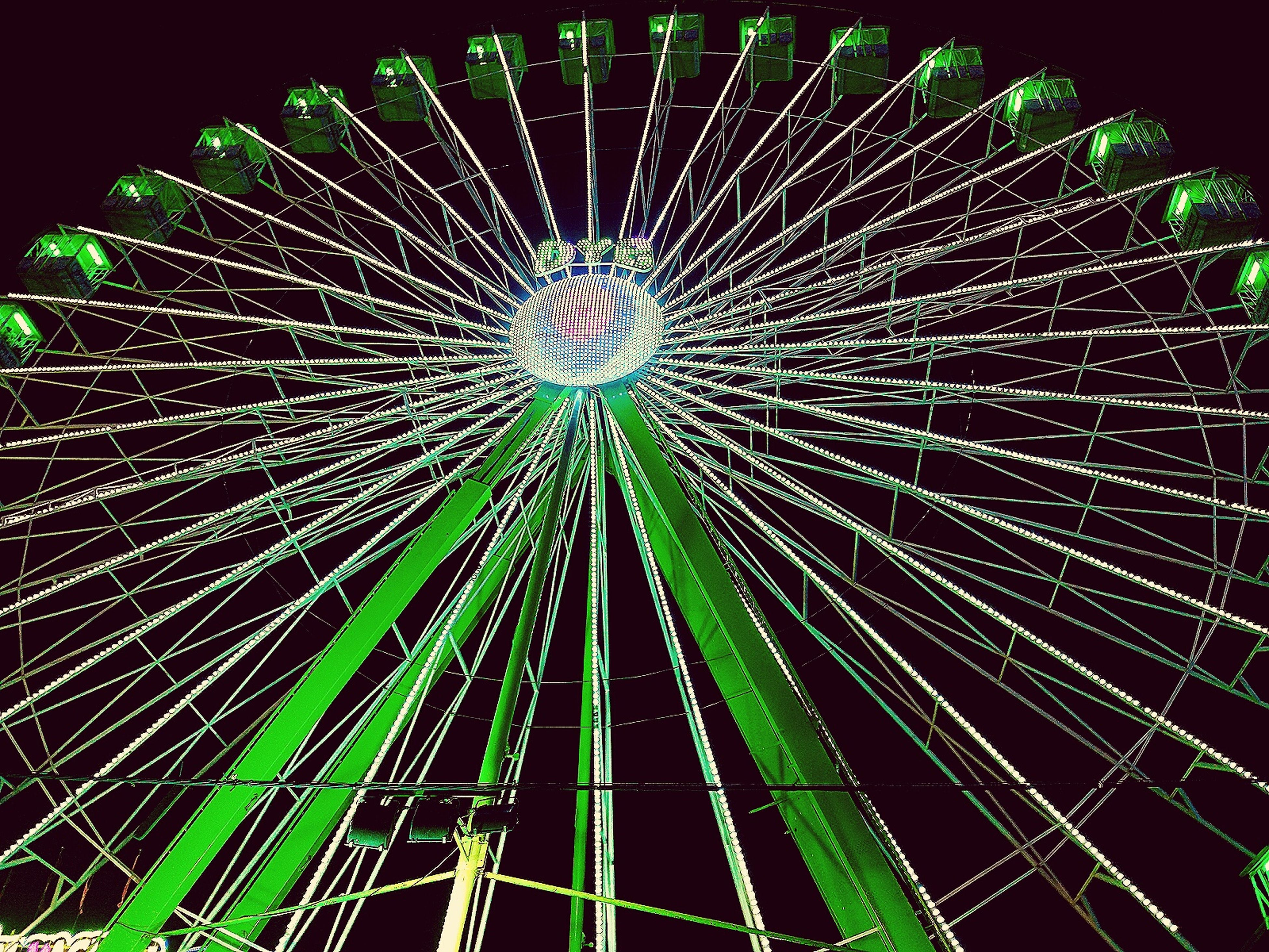 low angle view, night, no people, illuminated, green color, indoors, close-up, sky