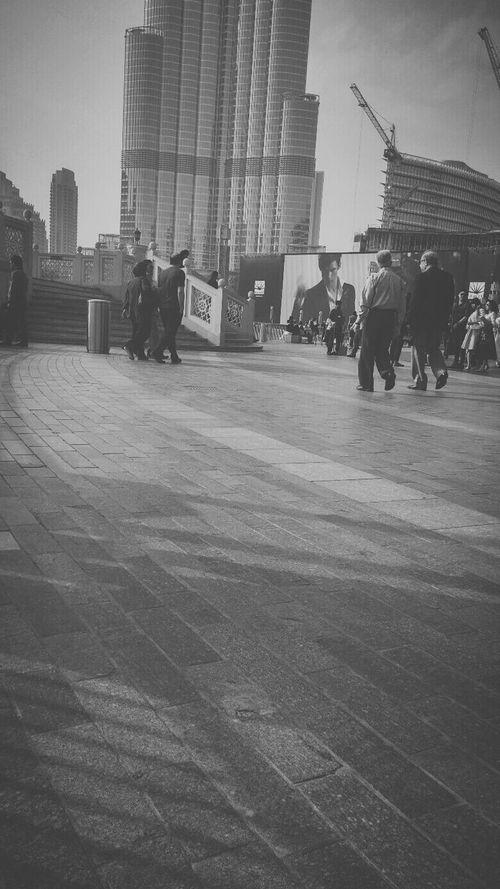 Streetphotography Dubai Burj KhalifaBlackandwhite People Walking  Big TV )))