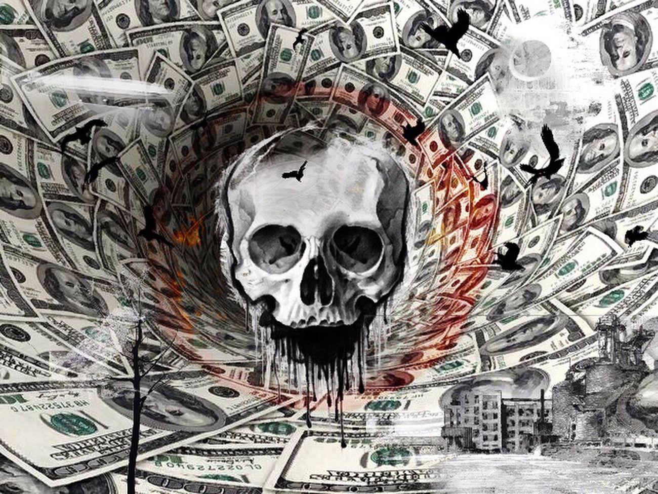 Drawing Capital Dollar Cynism Skull Endoftheworld ? Illusion