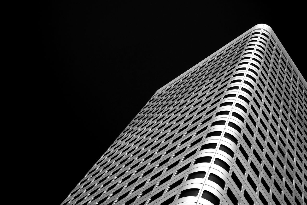 Abstract Architecture Black Background Building Exterior Built Structure Clear Sky Façade Low Angle View Minimalism Pattern Simplicity Skyscraper