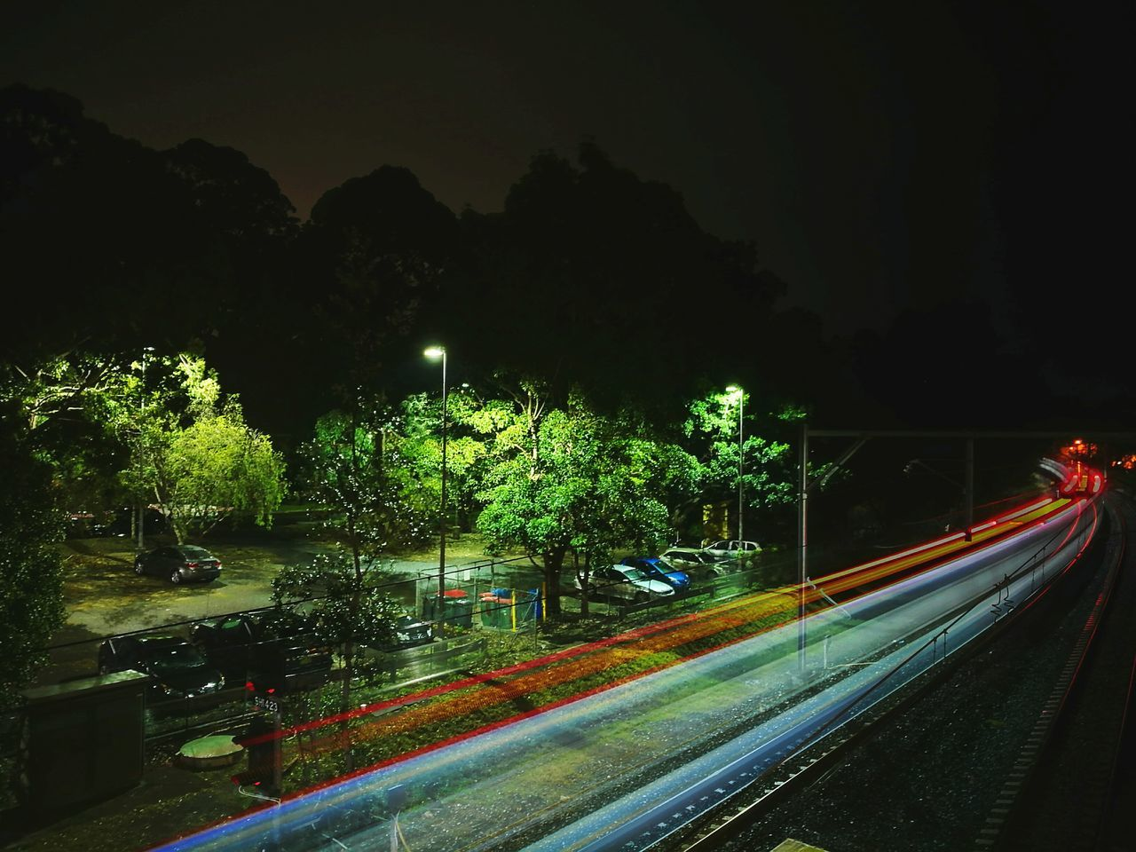 Transportation Night Tree Illuminated Long Exposure Light Trail Railroad Track Outdoors No People Sky Scenics Australia Sydney Wahroonga Light Painting Light Trails Long Exposure Shot First Eyeem Photo HuaweiP9