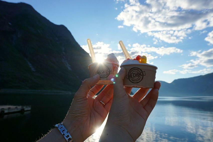 Human Hand Human Body Part Sunlight Sky Outdoors Nature Ice Cream Fjord Eidfjord Yummy Lens Flare Bio Choice