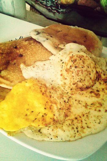 Blueberry pancakes! Breakfast