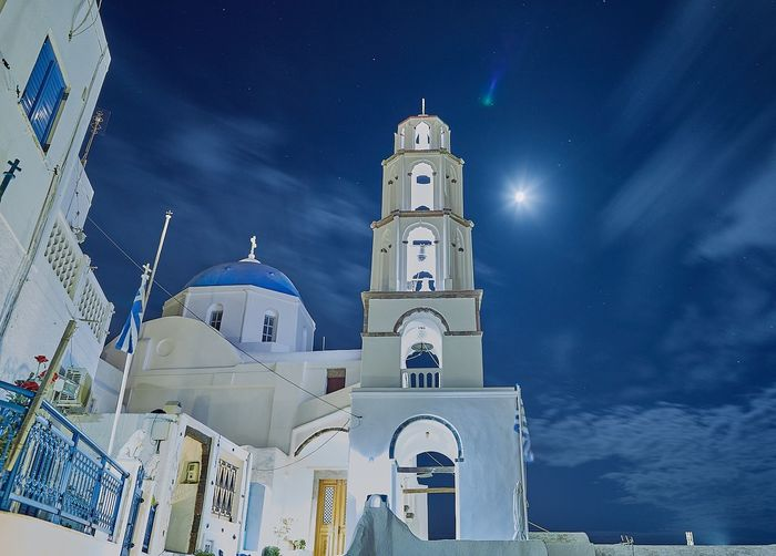 Religion Place Of Worship Spirituality Architecture Outdoors Sky Tower History Building Exterior Travel Destinations Greece2017 Greece Santorini Island Greece Island Sea Greek Islands Cloud - Sky Landscape Greek Symbols Greek Church Spirituality Orthodox Church No People Tranquil Scene Blue Night