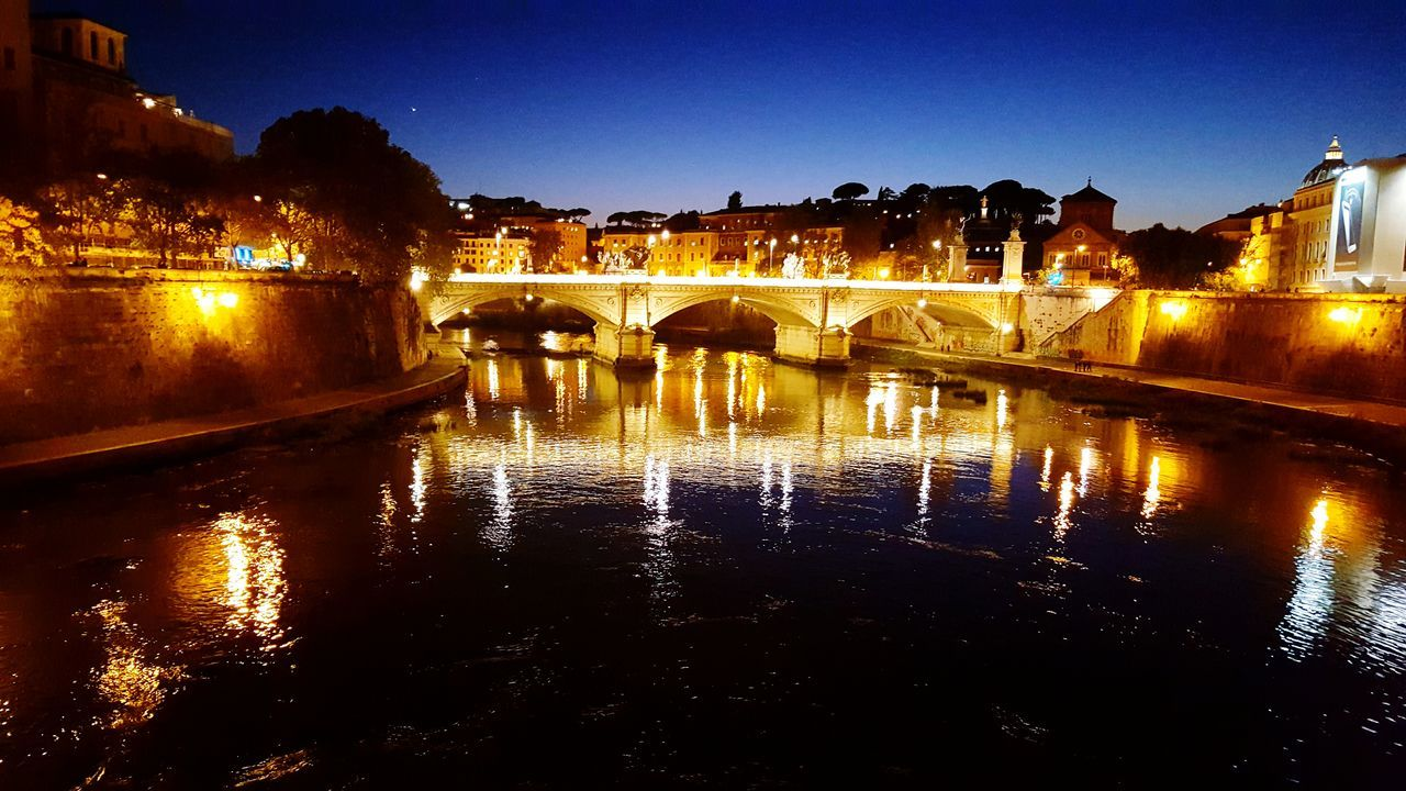 Reflection Bridge - Man Made Structure Connection Night Illuminated Architecture Water River Sky Travel Destinations Outdoors Cityscape No People City Nature Rome, Italy Rome By Night First Eyeem Photo